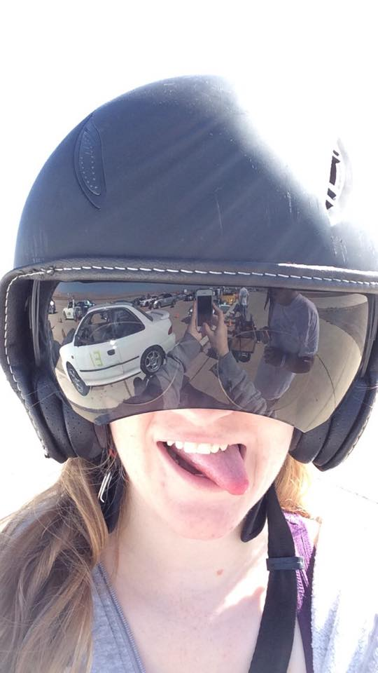 Mel's Selfie. And you can totally see a reflection of the car in the visor.